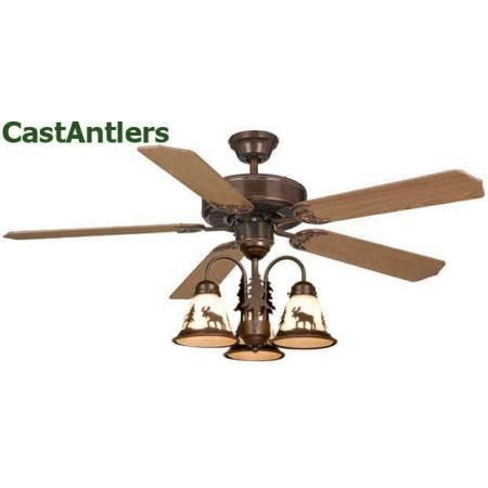 medallion rustic lodge ceiling fan w bear deer moose or pine