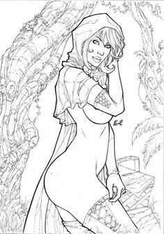 Adult Red Riding Hood Coloring Page Adult Coloring Pages