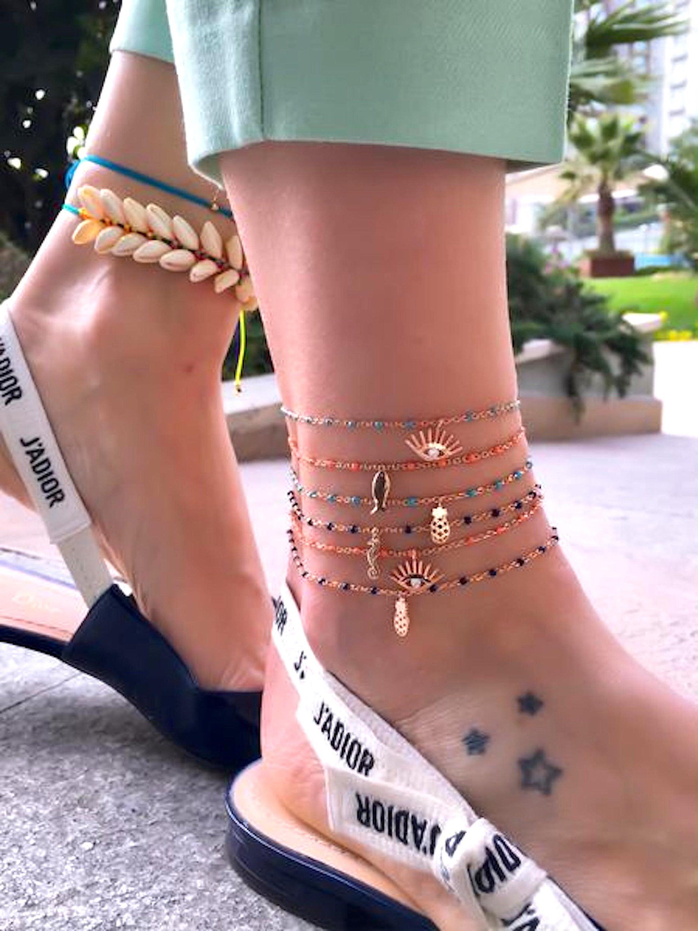 lycia jewelry Anklet Figaro Chain Silver 14K Rose Gold Plated
