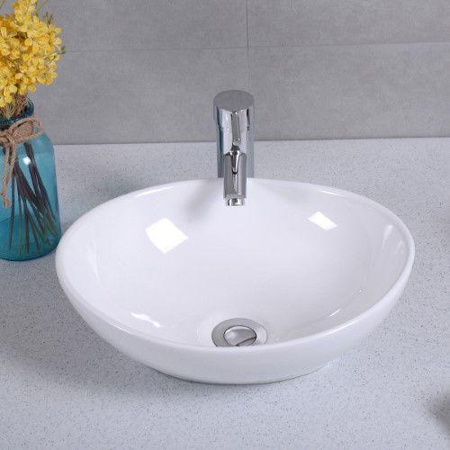 Costway Oval Bathroom Basin Ceramic Vessel Sink Bowl Vanity