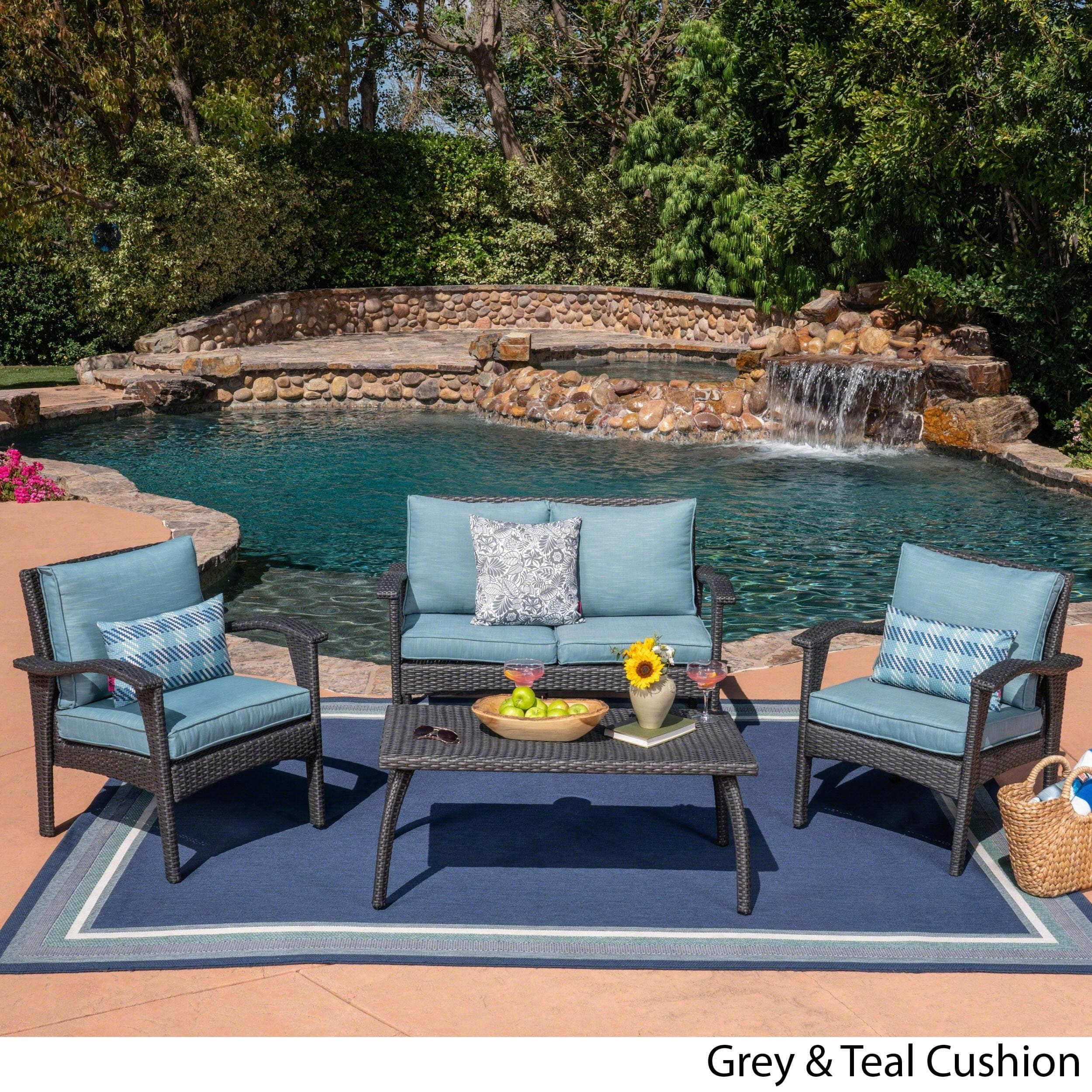 Honolulu Outdoor 4 Piece Cushioned Wicker Seating Set By Christopher