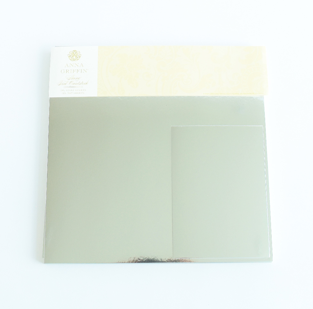 """Anna Griffin Shiny Silver Foil Cardstock 12-5/"""" x 7/"""" Card Making Scrapbook"""
