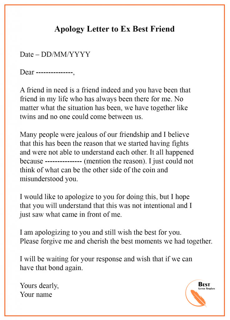 Apology Letter Template to Ex Sample & Examples Best