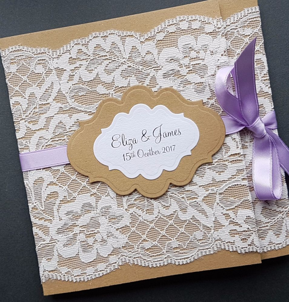 handmade rustic lace wrap around pocketfold wedding invitation