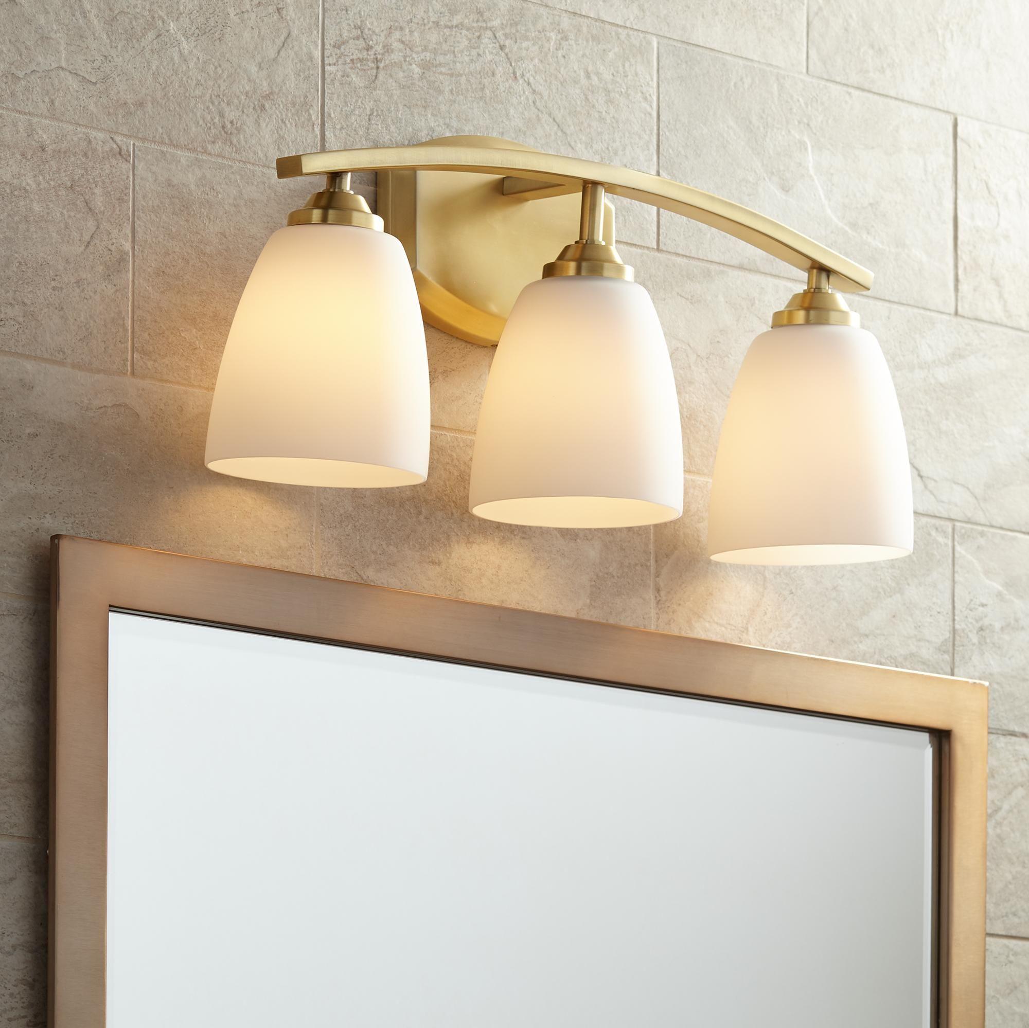 Bathroom Lighting Richter Opal 22 Wide Antique Brass 3 Light Bath Light Bath Light Bathroom Light Fixtures Bathroom Lighting
