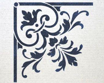 Risultati immagini per stencil angolo colorati shabby chic pinterest volute pochoir et - Pochoir shabby chic ...