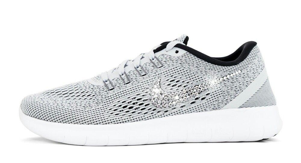 856da3d9feeab Over Discount Off Popular 2017 Fashion glitter kicks Womens Nike Free 5 0 RN  Customized with Swarovski Crystals Gray