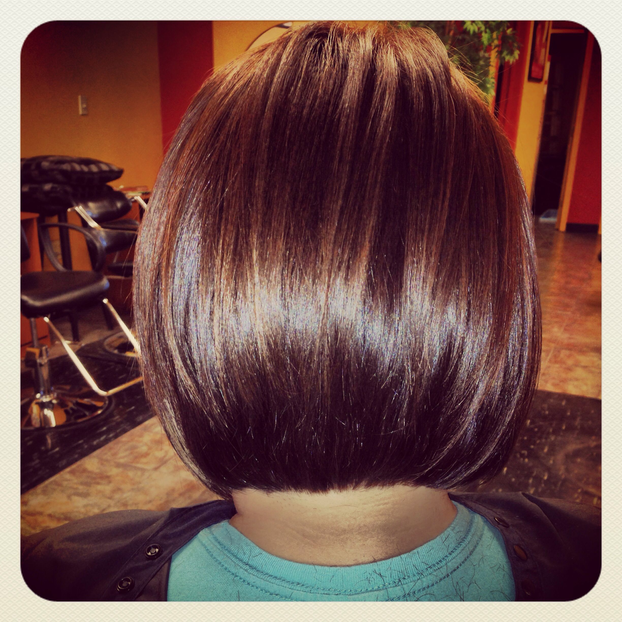 Back of one of my stacked bob haircuts angled bob