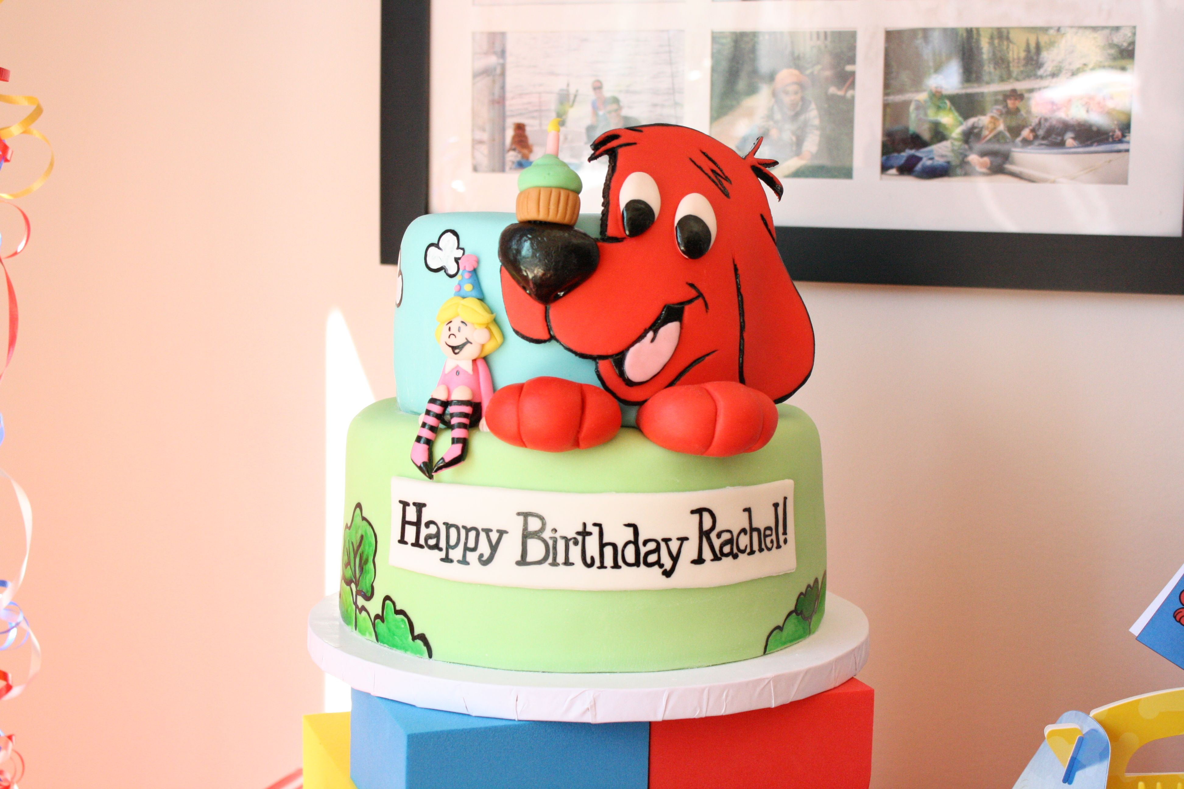 Astounding Clifford The Big Red Dog Cake Clifford Birthday Party Dog Personalised Birthday Cards Petedlily Jamesorg