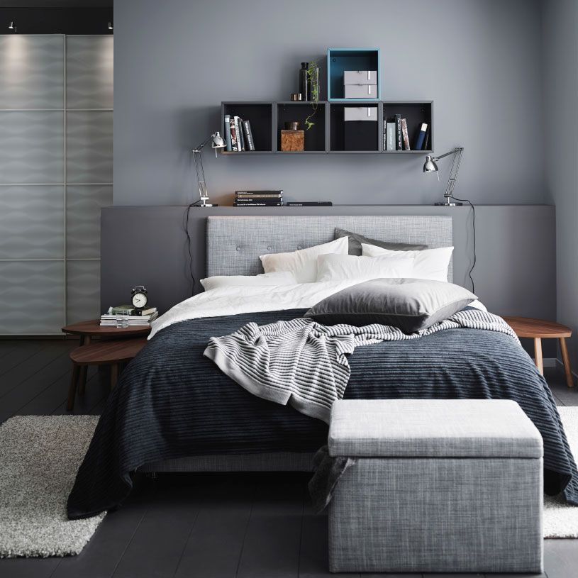 A grey bedroom with a grey rviksand divan bed a grey for Mens bedroom themes