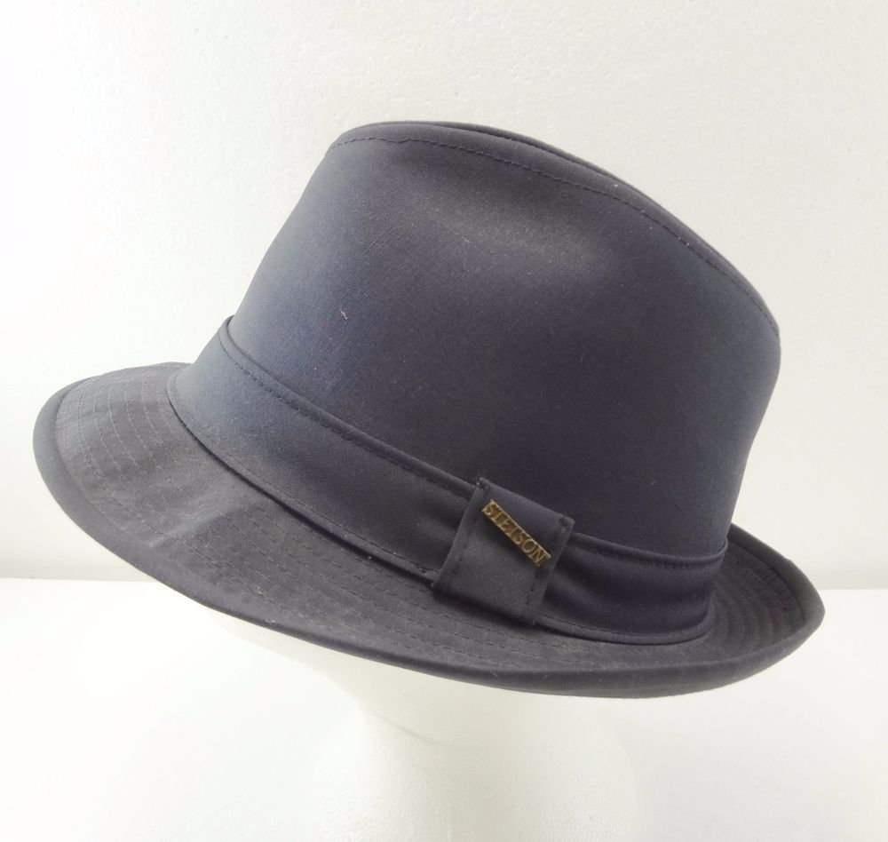 Stetson Navy Blue Water Repellent Fedora Hat Mens Size L 7 1 8