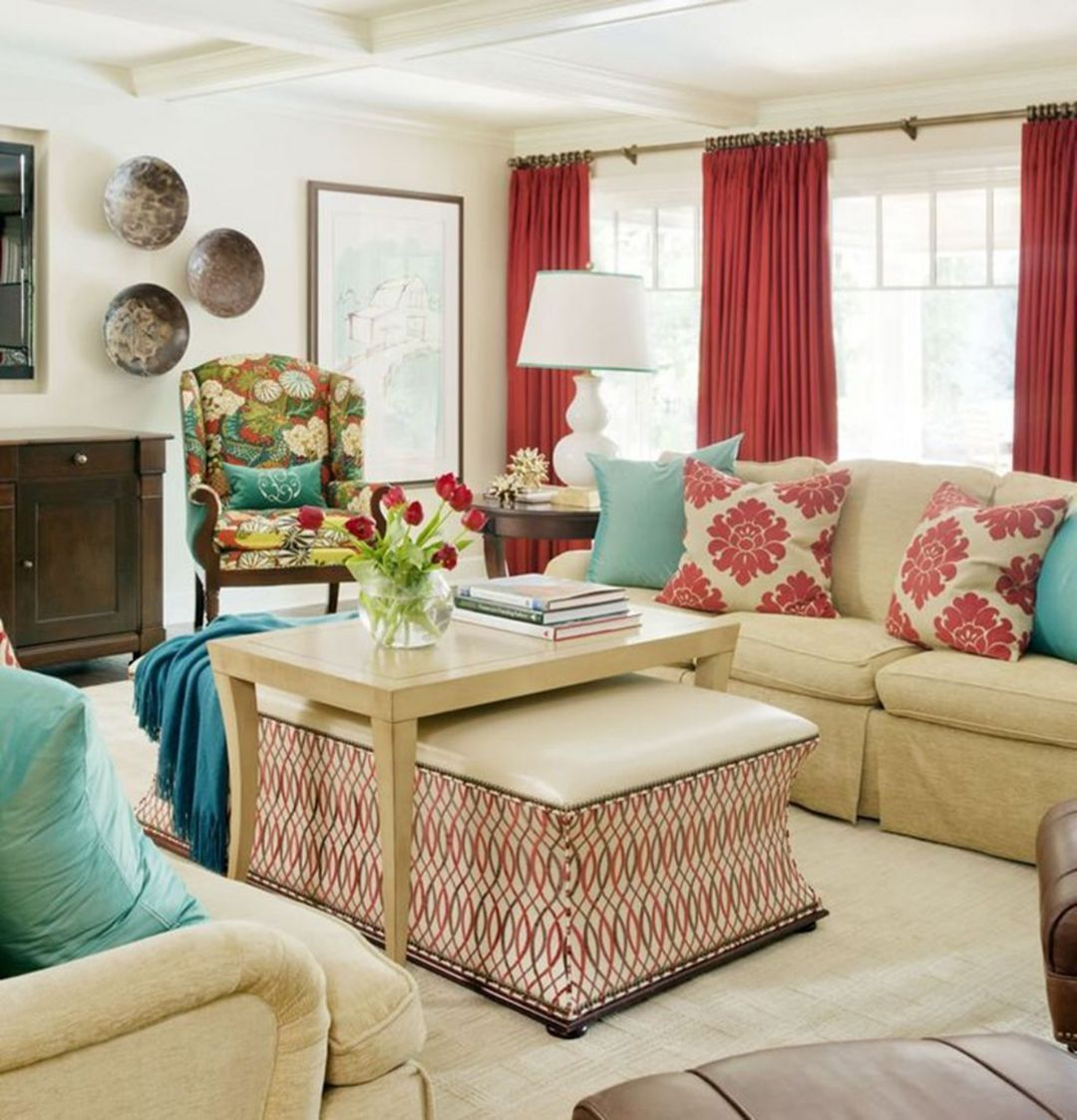 Salon Taupe Et Turquoise best and eye-popping red living room color schemes   living
