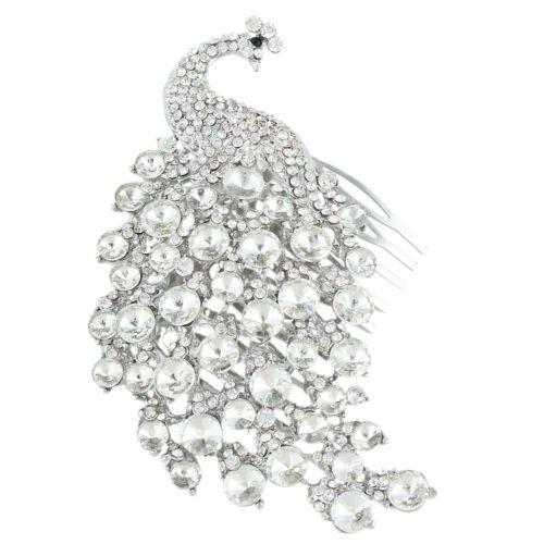 Wedding-Large-Peacock-Bird-Peafowl-Side-Hair-Comb-Tiara-Clear-Austrian-Crystal