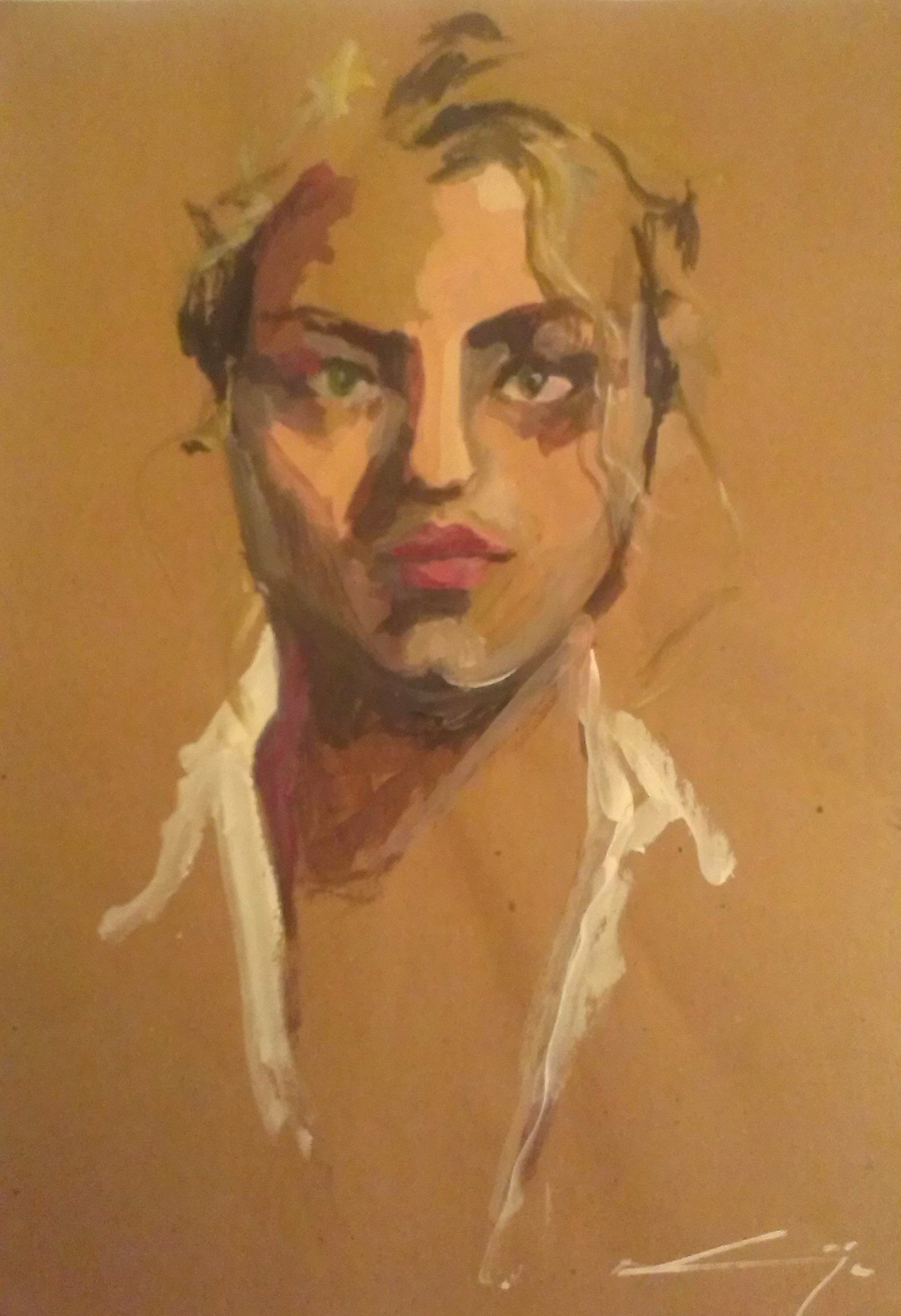 This is a self portrait I did a few years ago. Tempera on brown paper