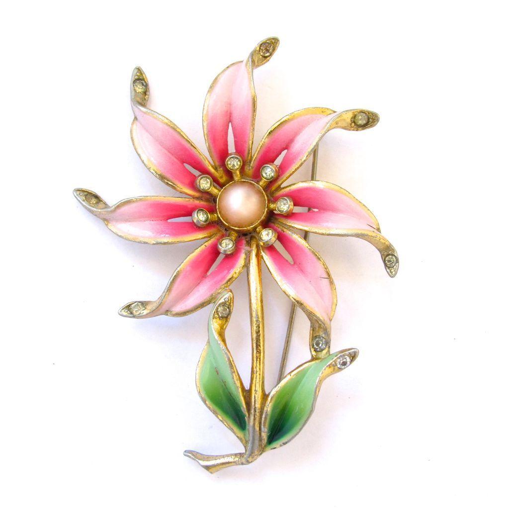 4fe7f72d88f Older Vintage Coro Pink Enamel Flower Brooch   Jewelry DESIGNER ...