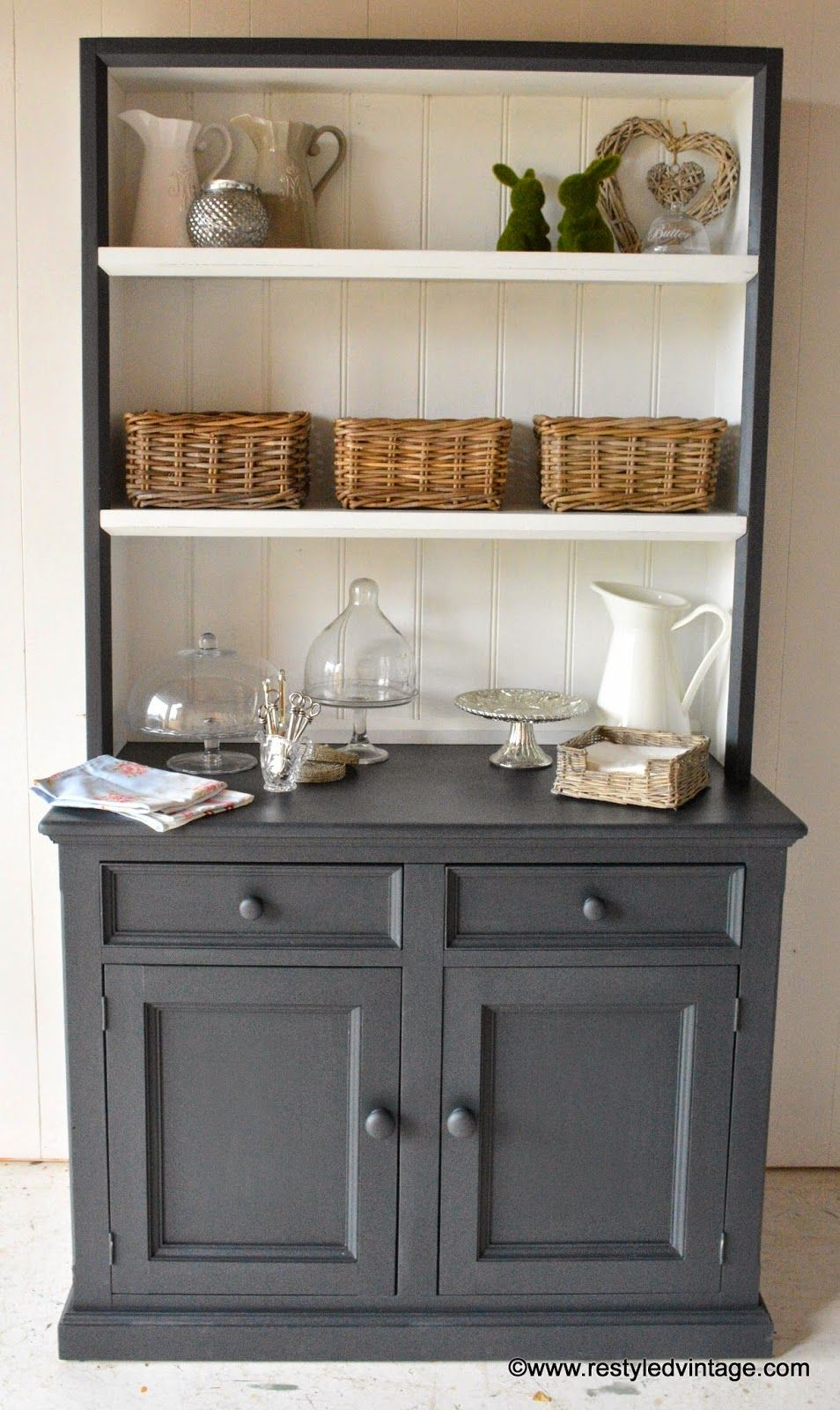 restyled vintage hamptons style buffet and hutch painted in annie sloan chalk paint. Black Bedroom Furniture Sets. Home Design Ideas