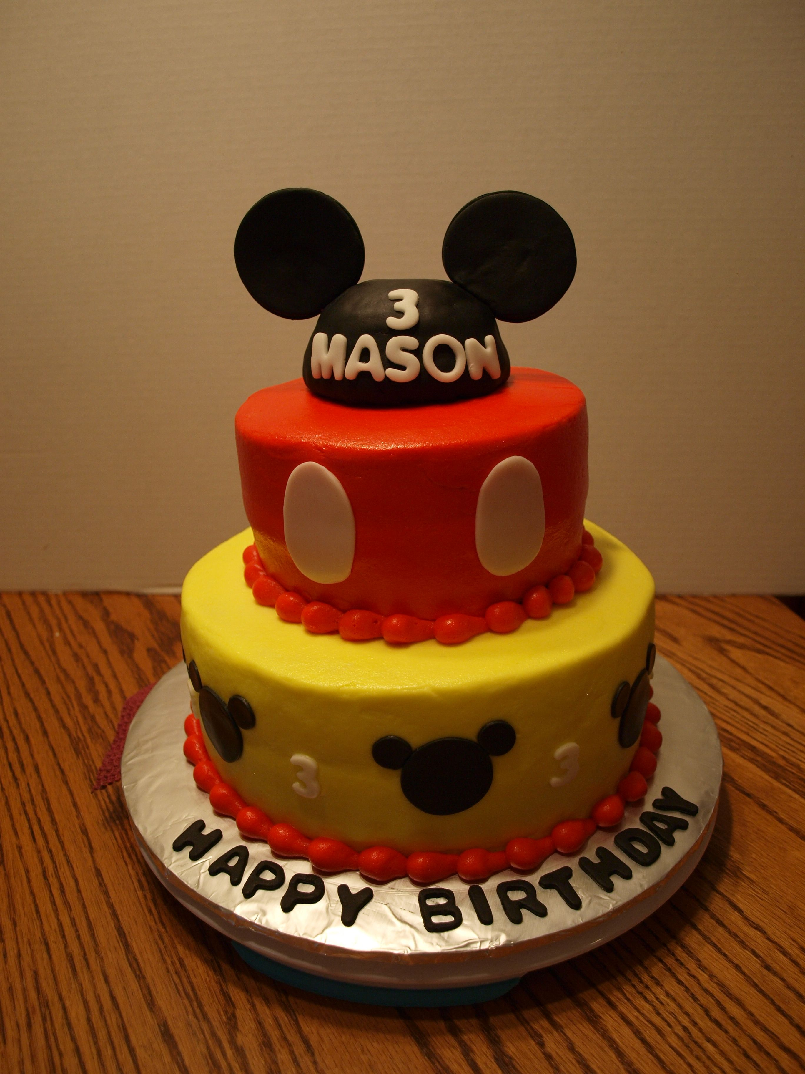 Mickey Mouse Two Tier Cake Mickey Mouse Cake Decorations Cake
