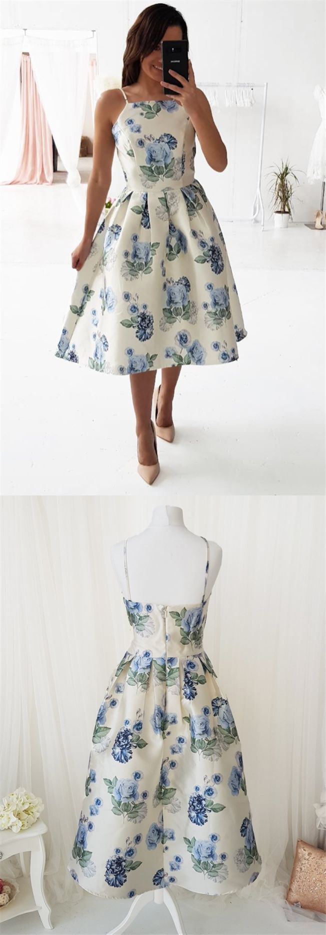 Ivory printed midi dresses simple a line tea length prom dress for