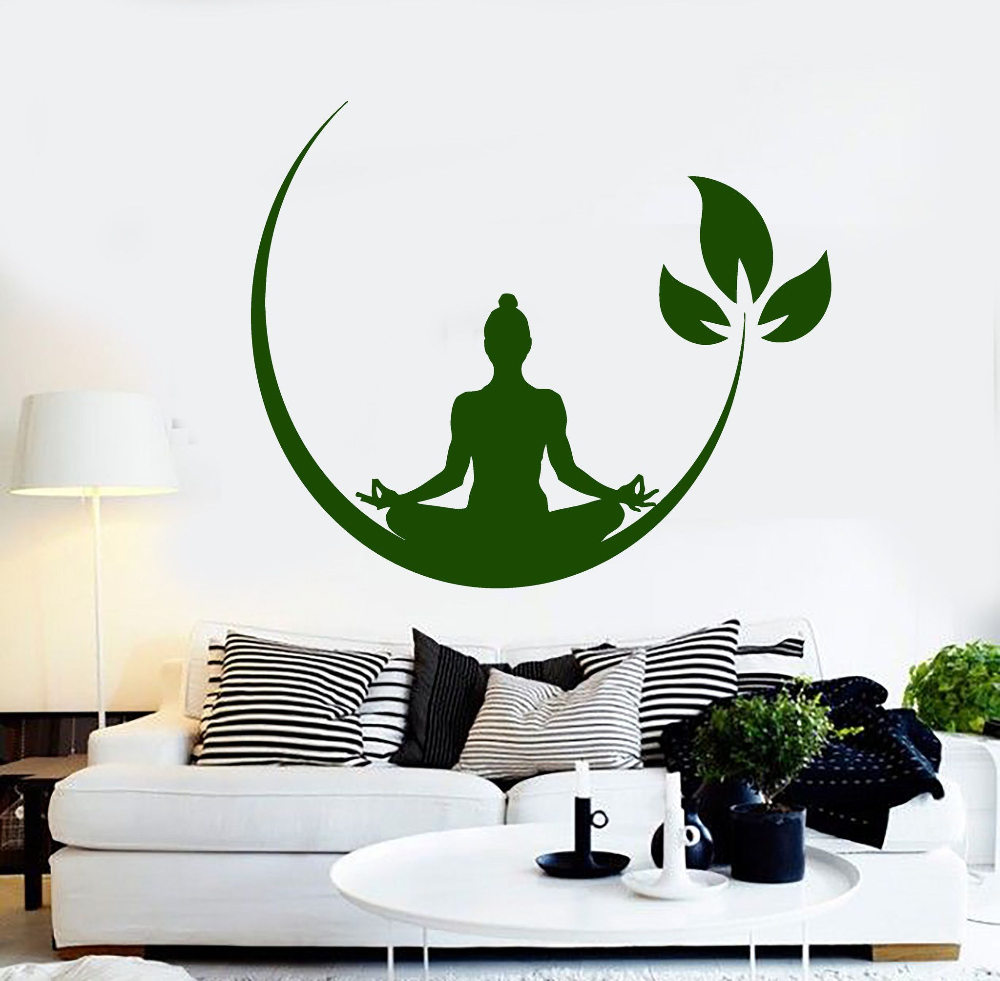 Vinyl Wall Decal Yoga Meditation Room Buddhist Zen Stickers - Zen wall decalsvinyl wall decal yin yang yoga zen meditation bedroom decor