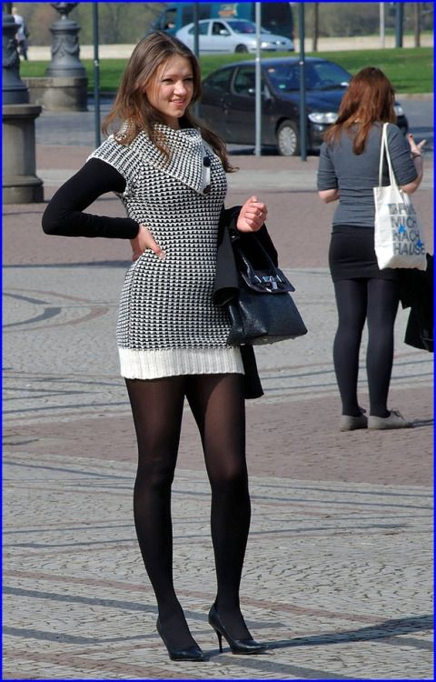 Auburn Girl wearing Red Opaque Pantyhose and Colored Short