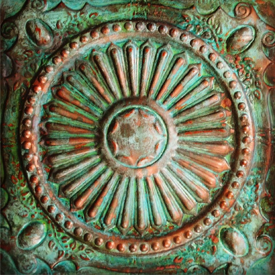 Oxidized tin ceiling panel using modern masters metal effects oxidized tin ceiling panel using modern masters metal effects copper reactive metallic paint with green dailygadgetfo Image collections