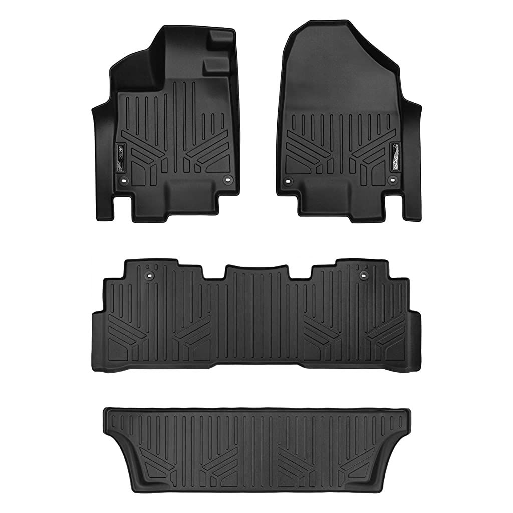 Smartliner Floor Mats 3 Row Liner Set Black For 2018 2019 Honda