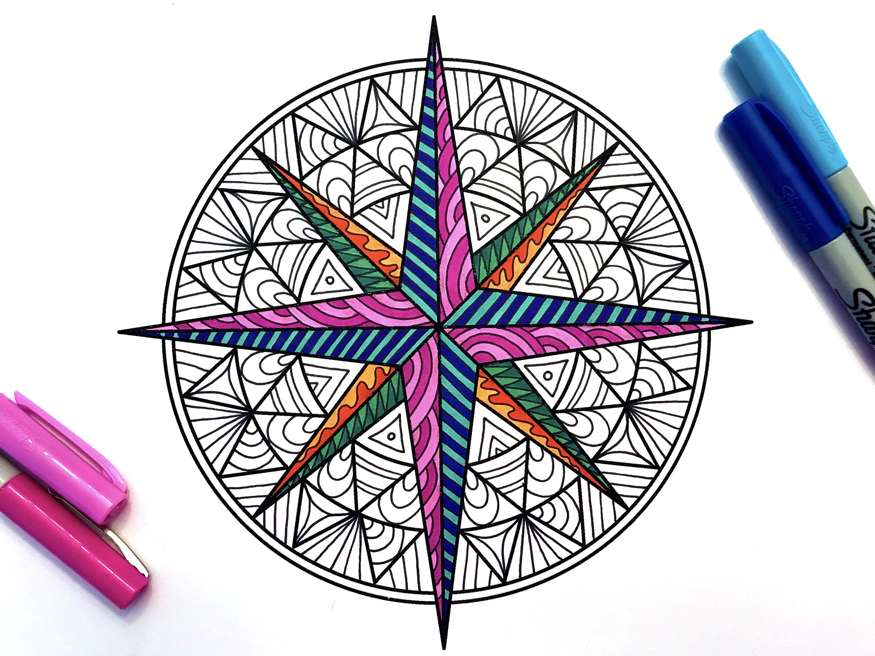 Compass Rose - PDF Zentangle Coloring Page | Rose coloring pages, Compass rose, Zentangle