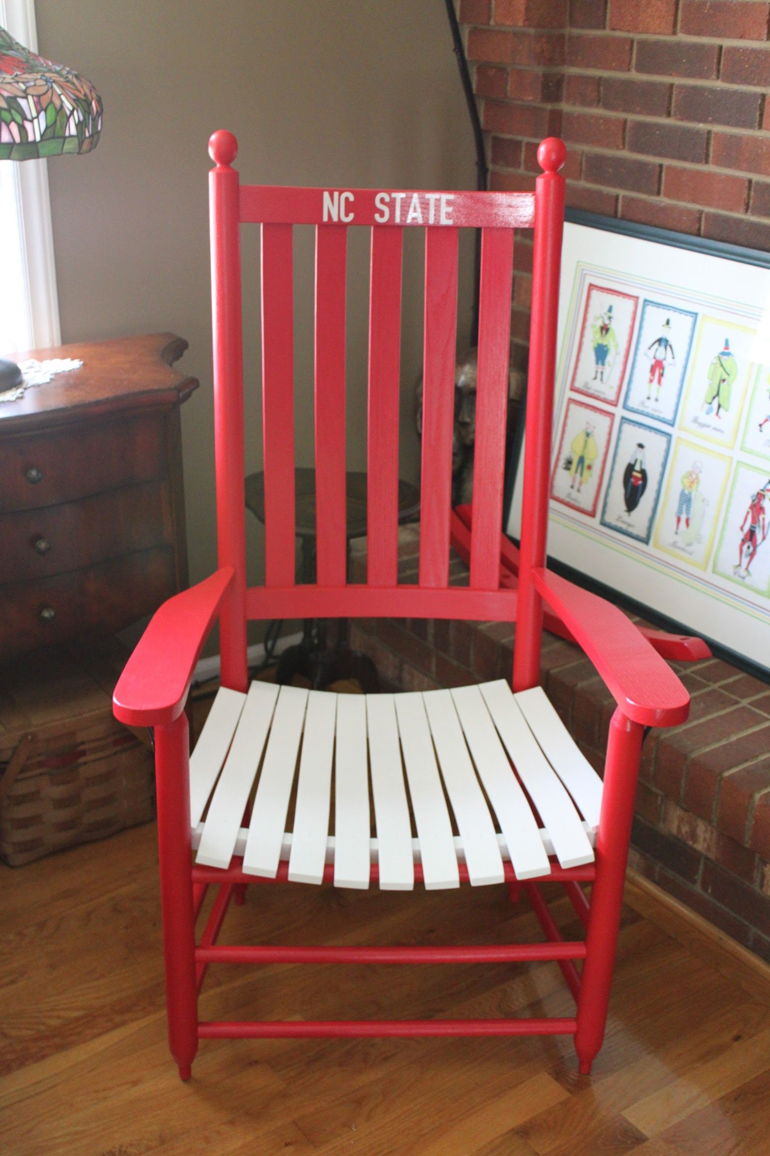 NC STATE UNIVERSITY Rocking Chair Custom Painted By The Painted Cubbard. Unfinished  Rocker By Troutman