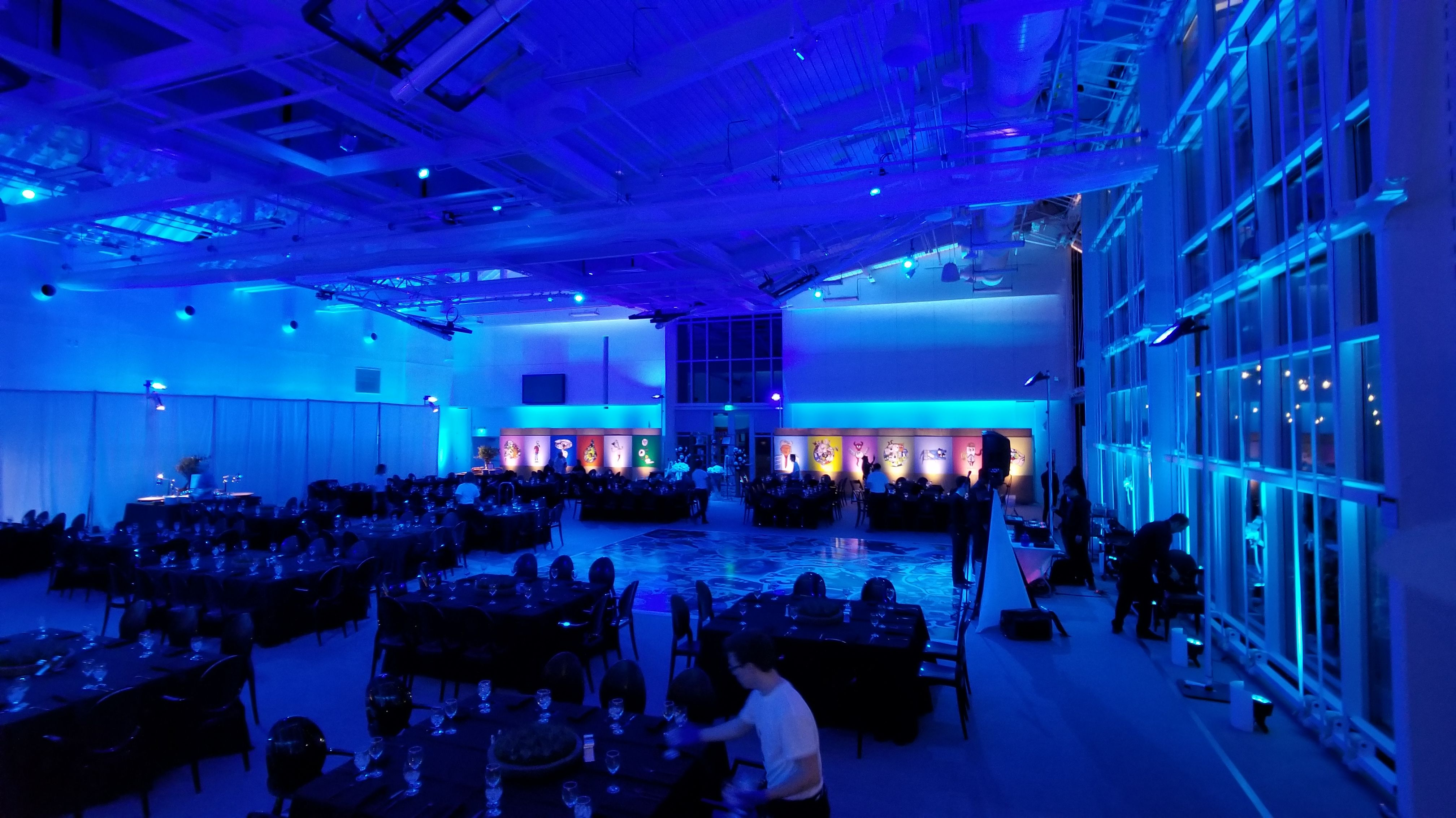 Lighting Design Blue Room Transformation Artwork Gymnasium Bar Mitzvah Bat By Dbcreativity Stephen Wise Temple