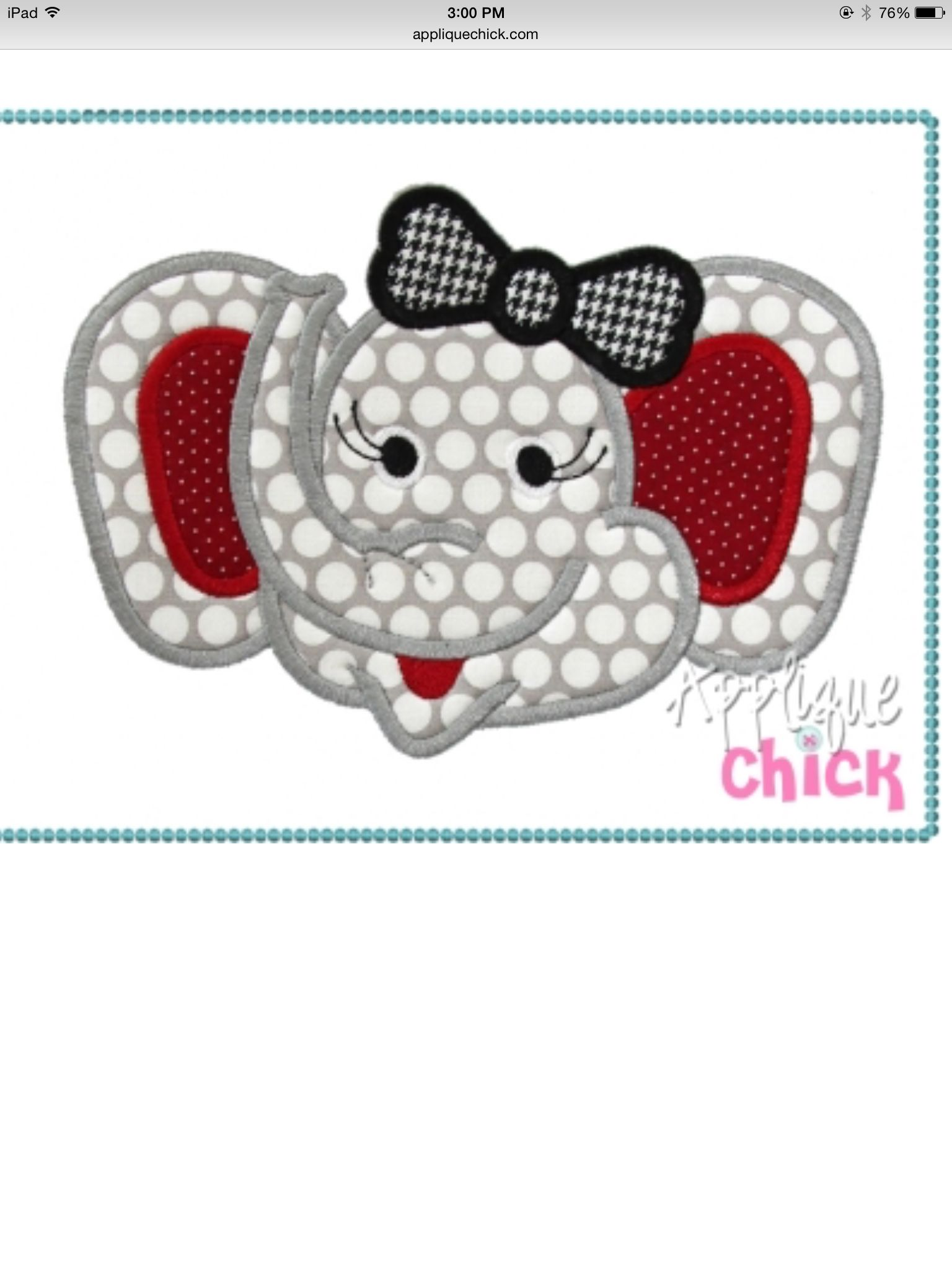 Girl elephant from Applique Chick