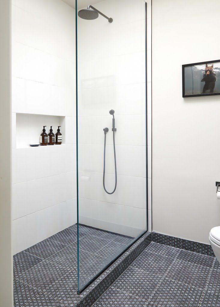 Glass shower in architect Jess Thomas Brooklyn bath remodel. Kate ...