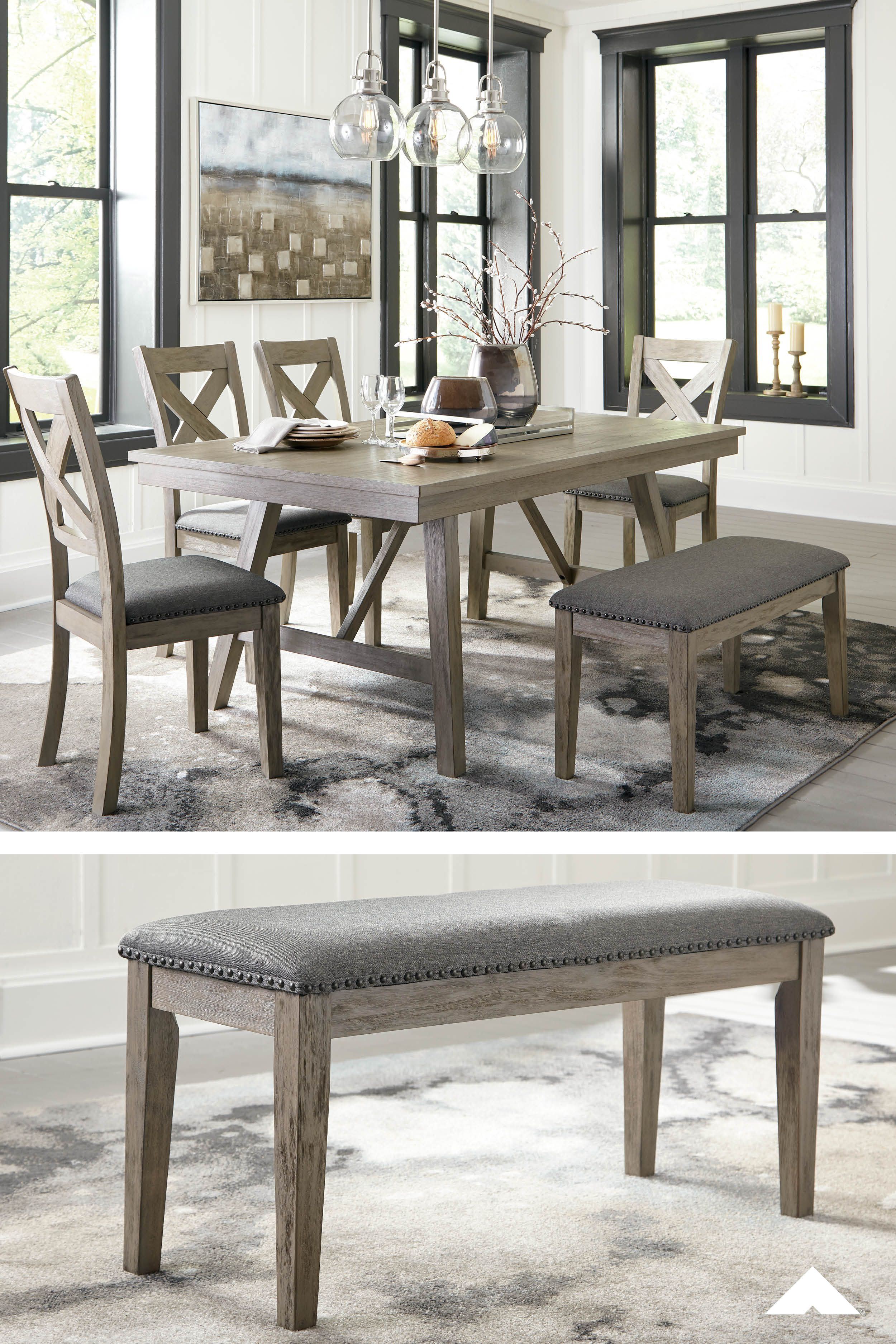 Aldwin Dining Room Table Side Chairs And Bench Modern