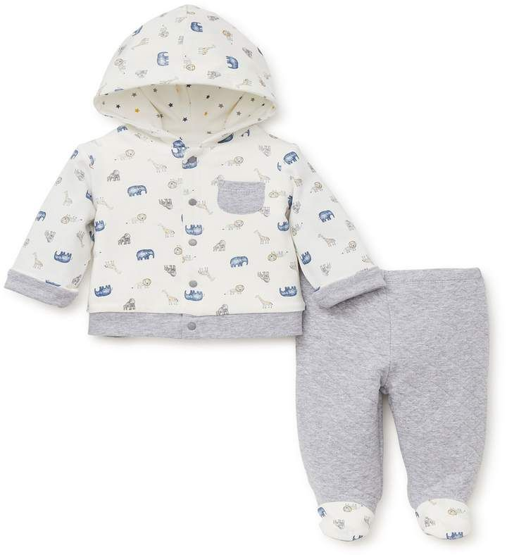 Little Me 2-Piece Jungle Animals Hoodie and Footed Pant Set in Grey  ad   kidsfashion  babyoutfit  nursery nursery e5bc3074d