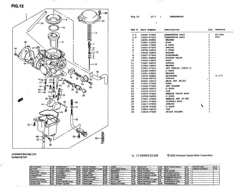 diagram of carburetor for 2005 suzuki 400 4 wheeler