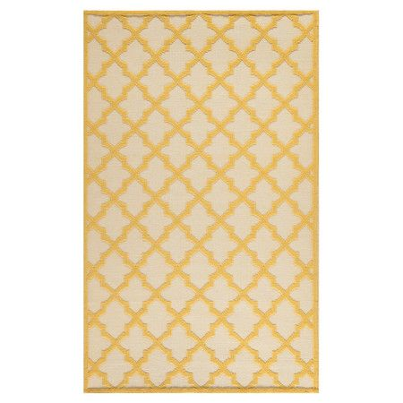 Stylishly anchor your living room or master suite with this handcrafted wool rug, showcasing a classic quatrefoil trellis motif in ivory and gold. ...