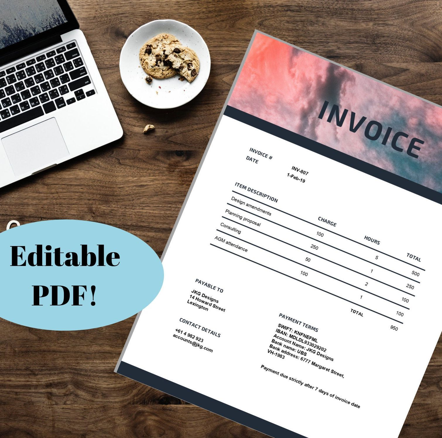 Editable Pdf Invoice Template Professional Invoice Tax Etsy Invoice Template Printable Day Planner Templates