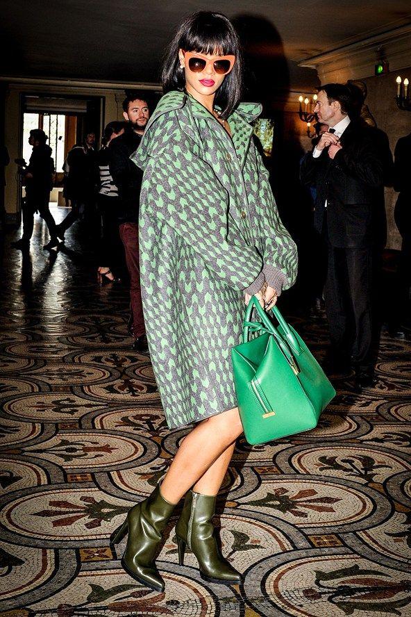 Rihanna green coat & bag