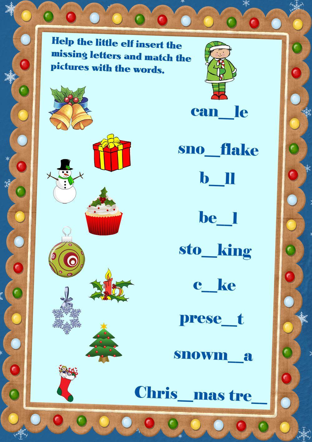 Christmas vocabulary worksheet #Christmas #esl #English | English ...