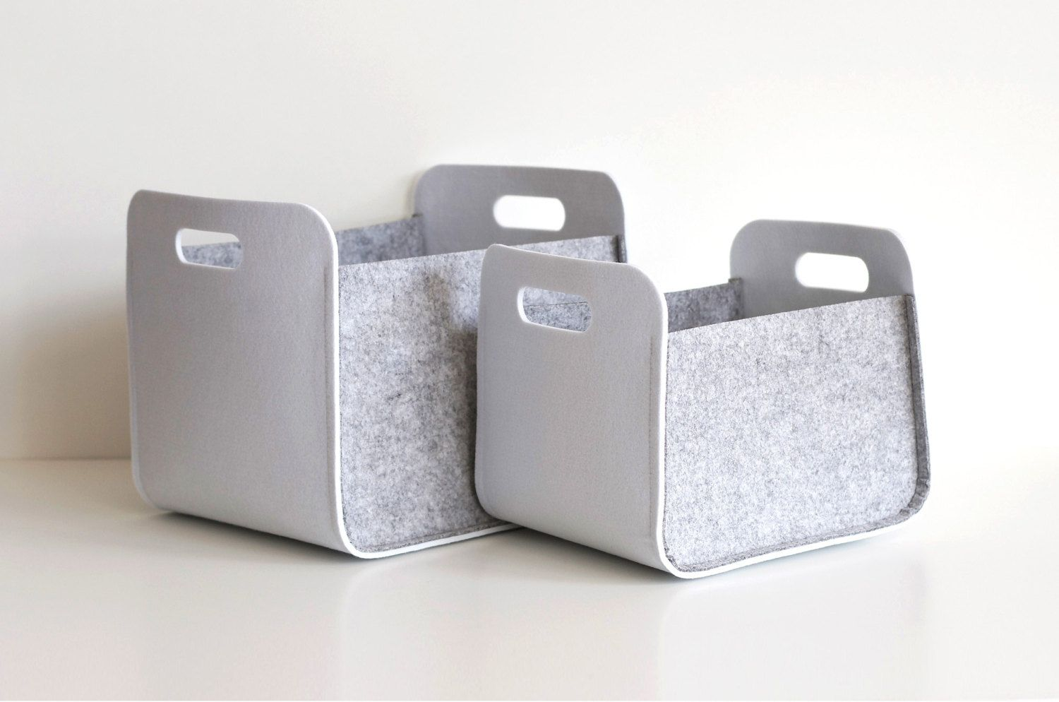 Set of 2 White and Gray Felt Storage Baskets / by WoollyClouds
