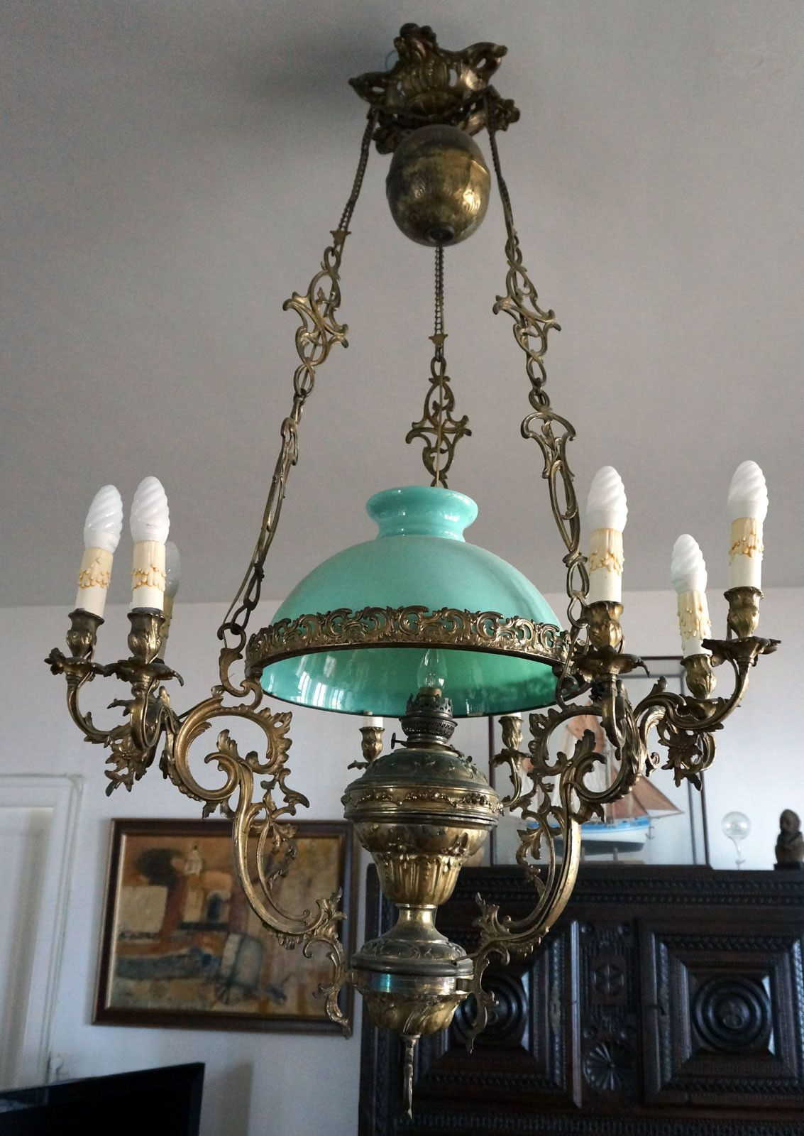 French Victorian Large Hanging Oil Lamp Chandelier 10 Lights Bronze Brass 1860 | eBay