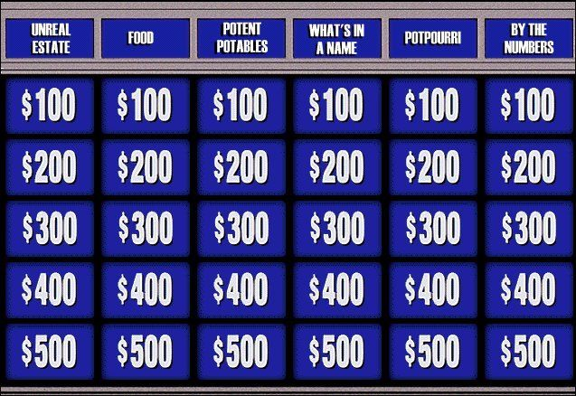 j game board jeopardy 50th anniversary pinterest game boards. Black Bedroom Furniture Sets. Home Design Ideas