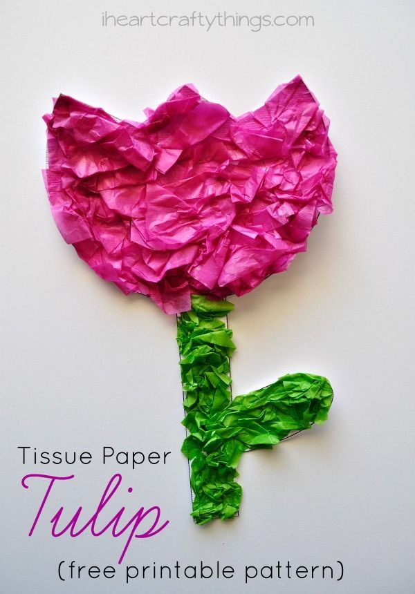Tissue Paper Tulip Kids Craft With Printable Pattern Flower