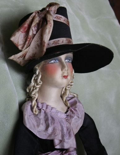 Antique-Boudoir-or-Bed-Doll-Cloth-Head-Composition-Hands-Original-Clothing