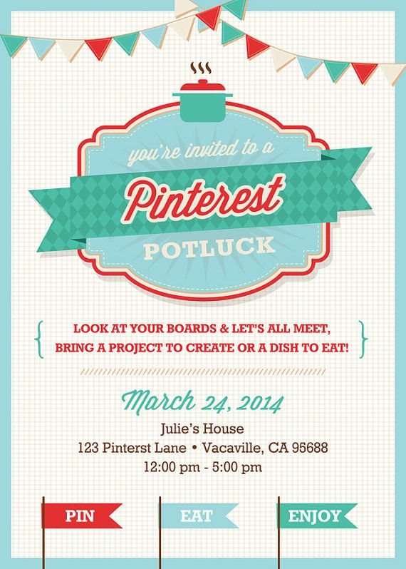 Pinterest Potluck Party Invitation PRINTABLE by LizBasseyStudios – Party Invitation Pinterest