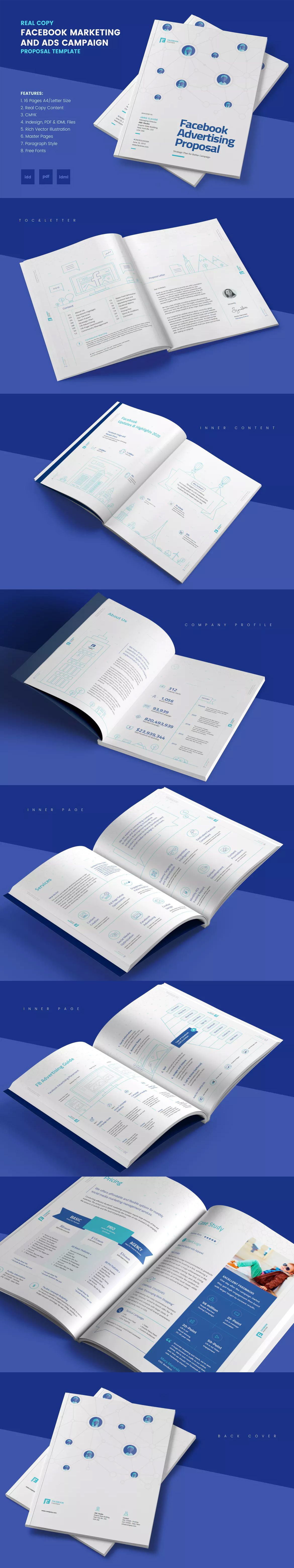 Facebook Marketing Ads Proposal Template Indesign Indd A4 And
