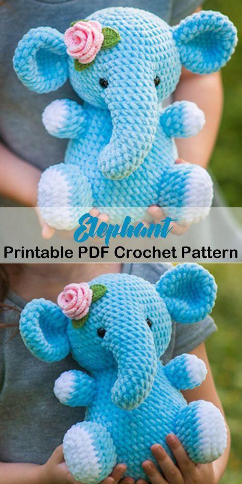 Make a cute elephant toy. elephant crochet pattern- animal crochet pattern pdf - amigurumi amorecraftylife.com #crochet #crochetpattern