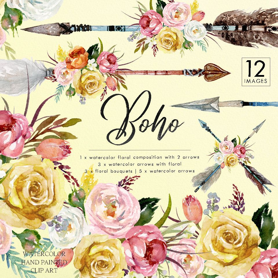 Dark Red Roses Flowers Watercolor Botanical Art Boho: Watercolor Boho Floral Set Arrows Yellow Flower Bouquets