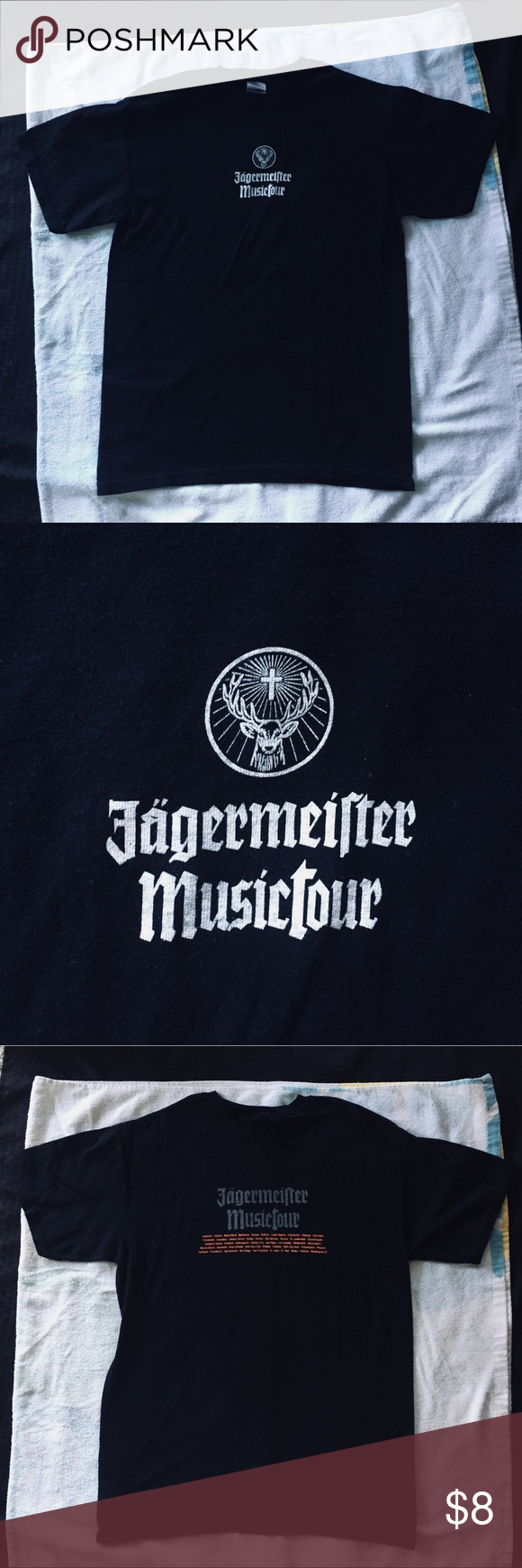 "Black Jagermeister MusicTour t shirt Black Jagermeister MusicTour T shirt • orange & white font and lettering • NWOT - brand New condition, never worn, I received this shirt without tags attached •   ✔️Smoke-Free Environment ✨OFFERS WELCOME✨ and... ""always drink responsibly"" (they made us say that and sign autographs that way) ;) Jagermeister Shirts Tees - Short Sleeve"