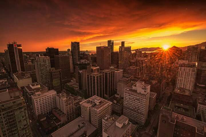 Sunset over vancouver.