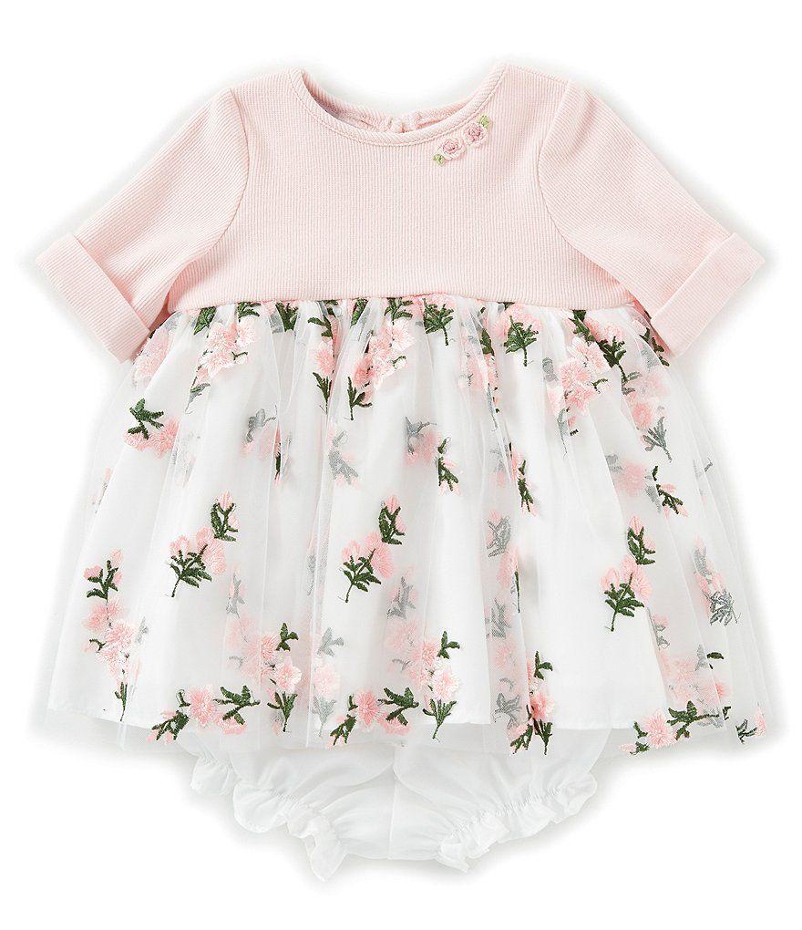221e3c3c56e Pippa   Julie Baby Girls Newborn-24 Months Rib Knit 3 4 Sleeve Floral  Embroidered Dress